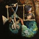 Der Liebhaber des singenden Vogels   Öl aufHolz   30 cm