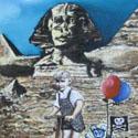 Ausflug nach Ägypten   Öl aufHolz   14 x 14 cm