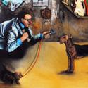 Grosses Hunde Interview   Öl aufLeinwand   100 x 100 cm