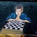 Davids Spiel   Öl aufHolz   10,5 x 8,5 cm