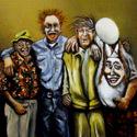Vier Figuren   Öl aufHolz   15 x 15 cm