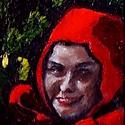 Ganz zufällige Begegnung zwischen Rotkäppchen und den sieben Zwergen   Öl aufHolz   22,7 x 12 cm