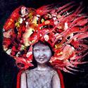 Rotkäppchen mitleeren Händen   Öl aufHolz   17,5 x 13,8 cm